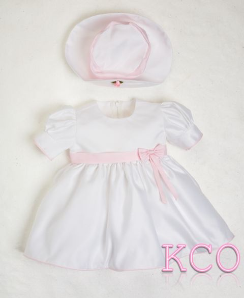 Baby Bow Dress Pink/White ~ Baby Girls dress